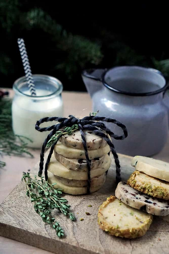close up of stacked cookies wrapped with string