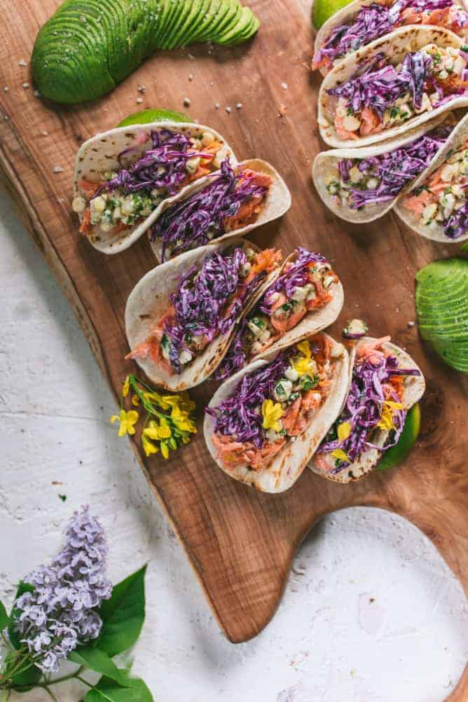 salmon tacos with purple cabbage slaw and corn salad