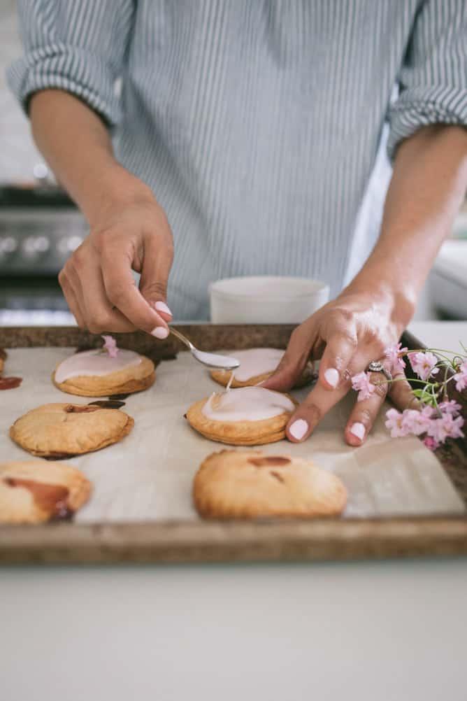 layer on the glaze on strawberry pop tarts