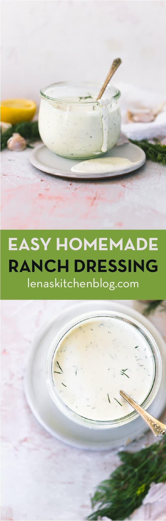 EASY HOMEMADE RANCH DRESSING by lenaskitchenblog.com