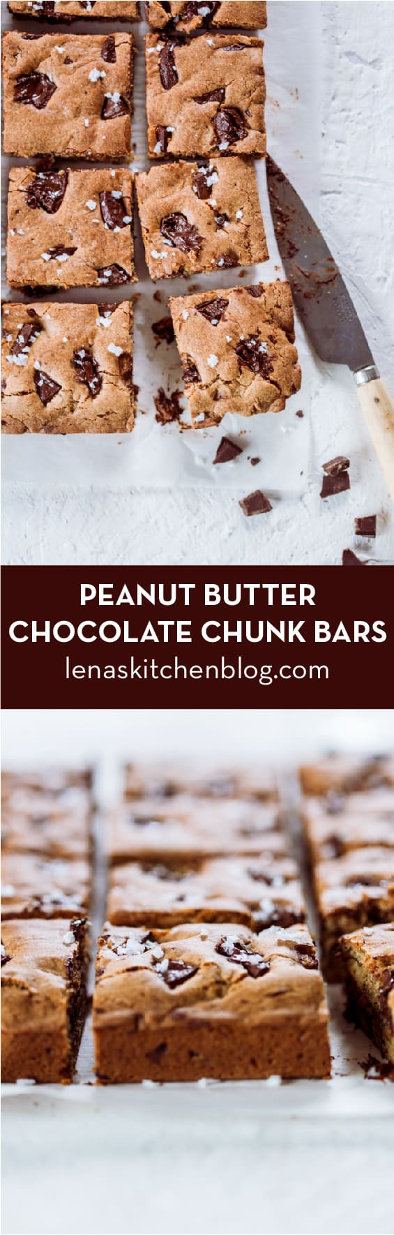 Peanut Butter Chocolate Chunk Bars Baking Challenge by lenaskitchenblog.com