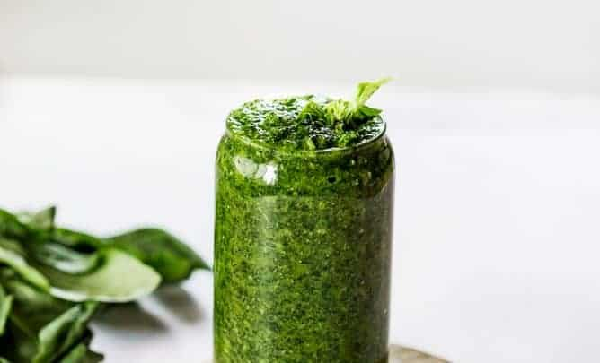 5 MINUTE ARUGULA BASIL PESTO made with cheese, garlic, olive oil and salt