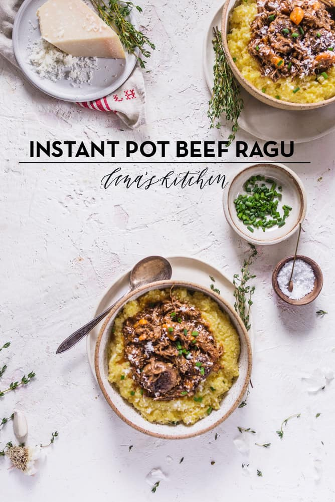 INSTANT POT BEEF RAGU with creamy cheesy polenta
