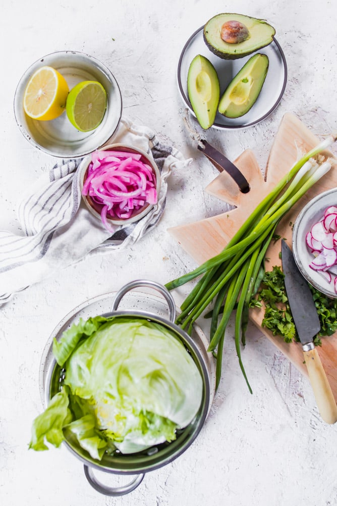 Low Carb Asian Pork Lettuce cups. Styled ingredients shot. lenaskitchenblog.com