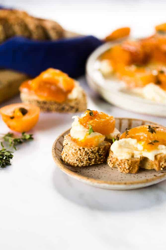 Roasted Apricot cheese spread appetizer on baguette