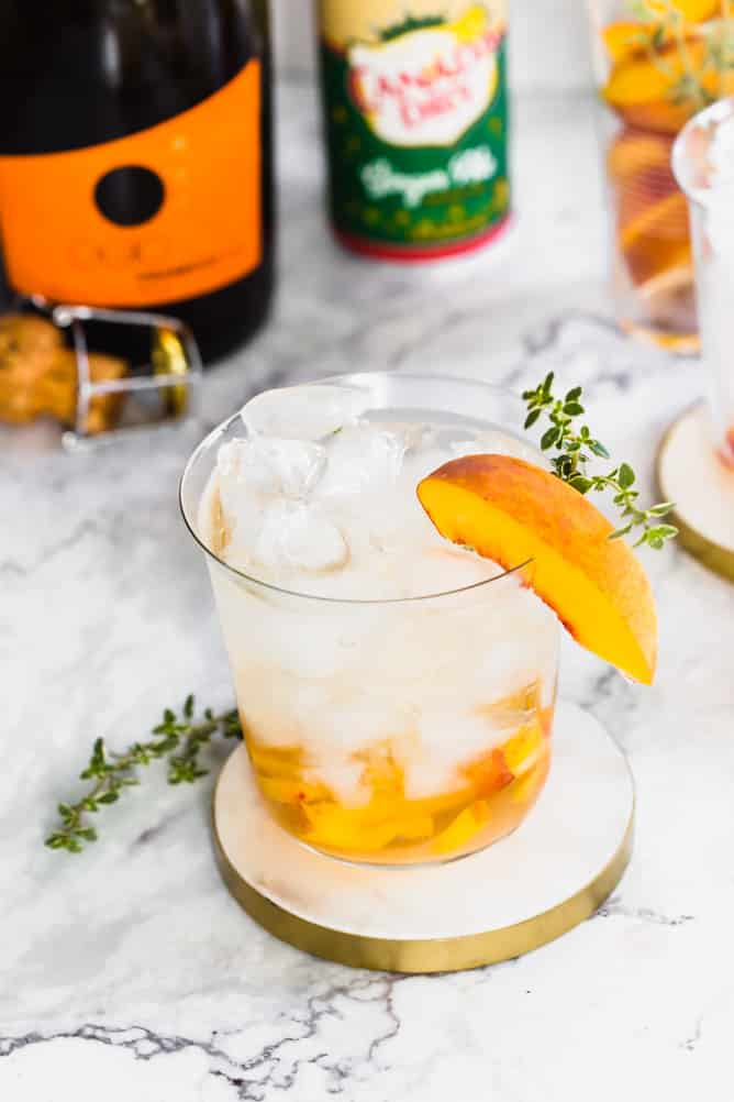 peach, ginger and thyme prosecco cocktail