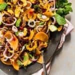 delicata squash salad served on a platter