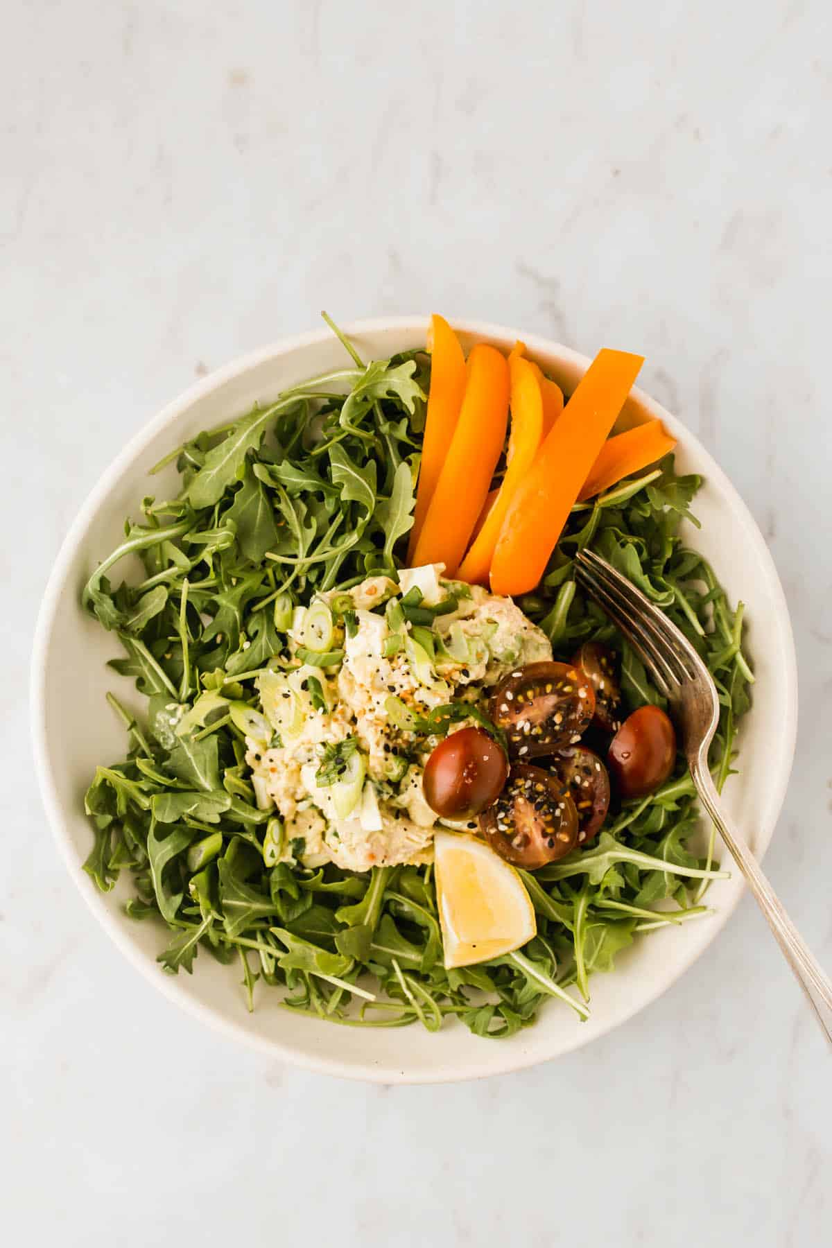 Easy Tuna Egg Salad served with fresh greens and veggies
