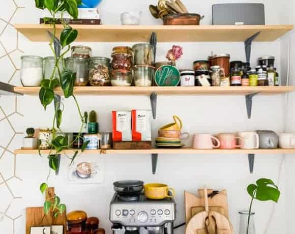 pantry items on my open shelves