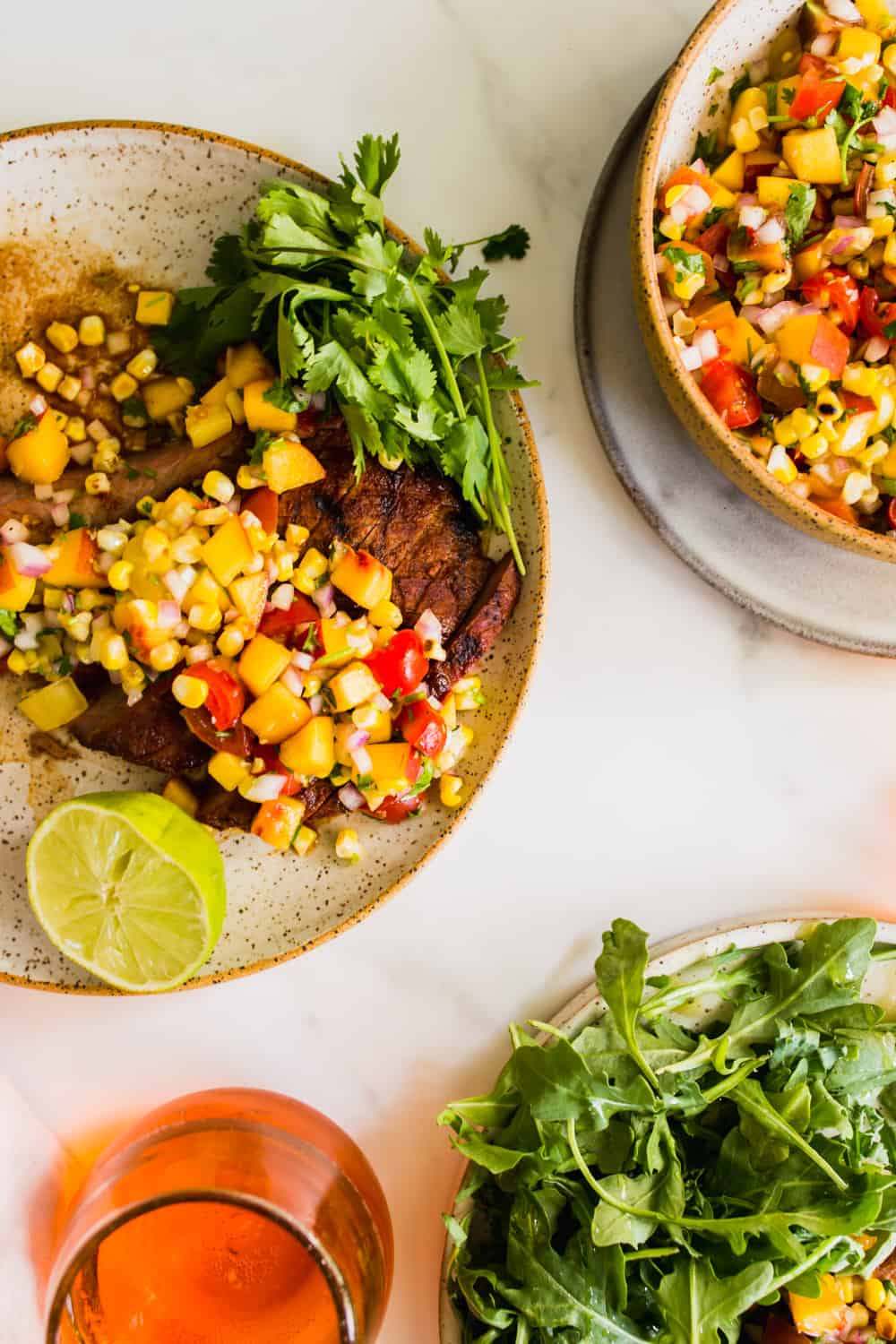 Steak with fruit salsa on top