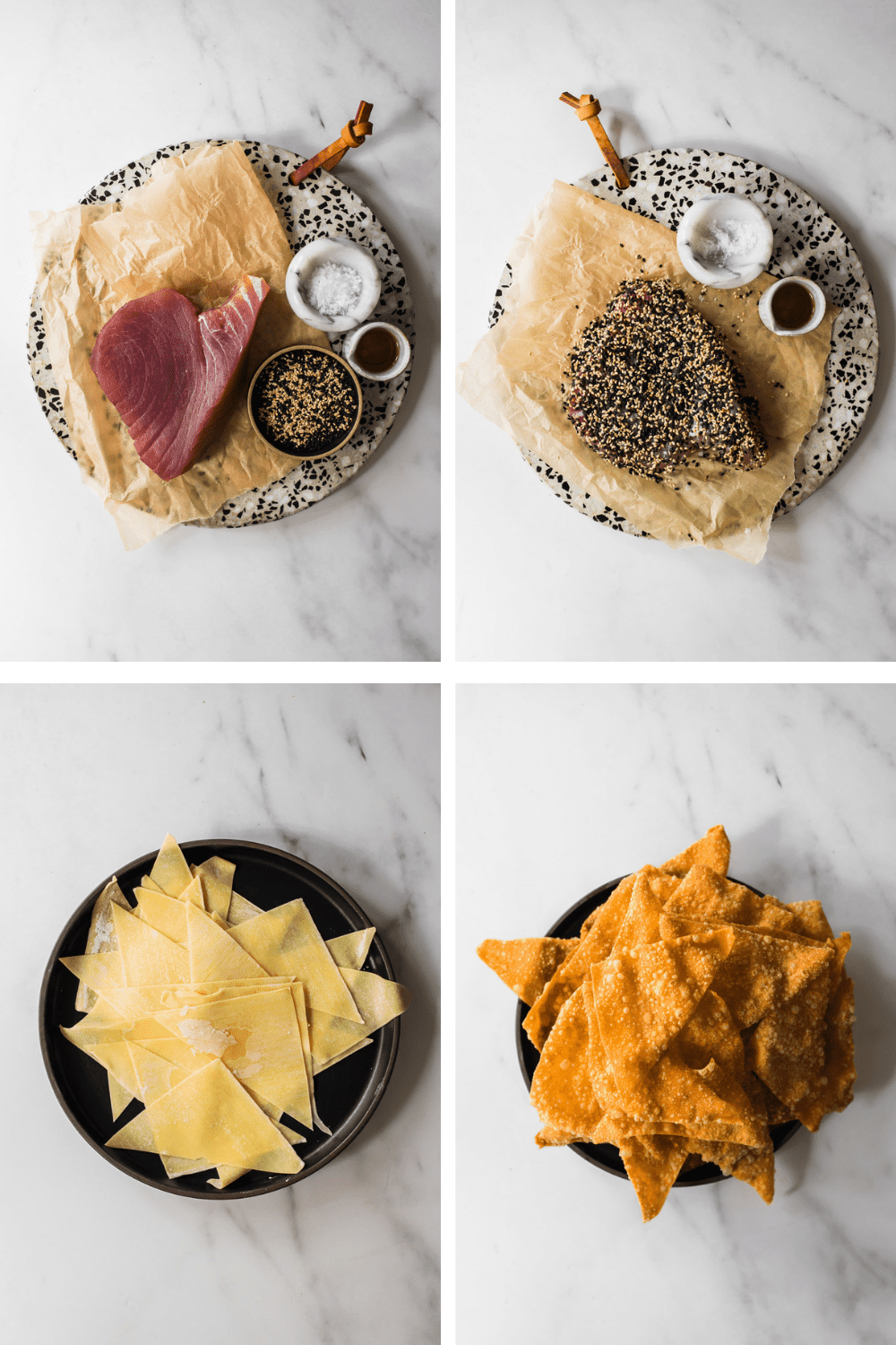 4 photos of preparing the sesame covered tuna and fried wontons