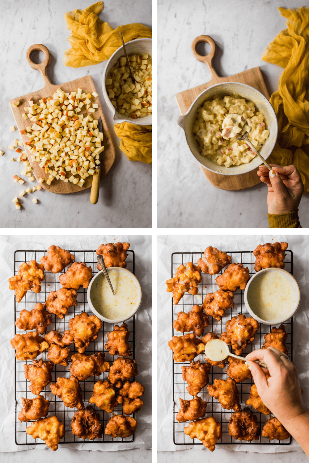 4 stages of preparing batter with apple chunks and pouring glaze on the finished fritters