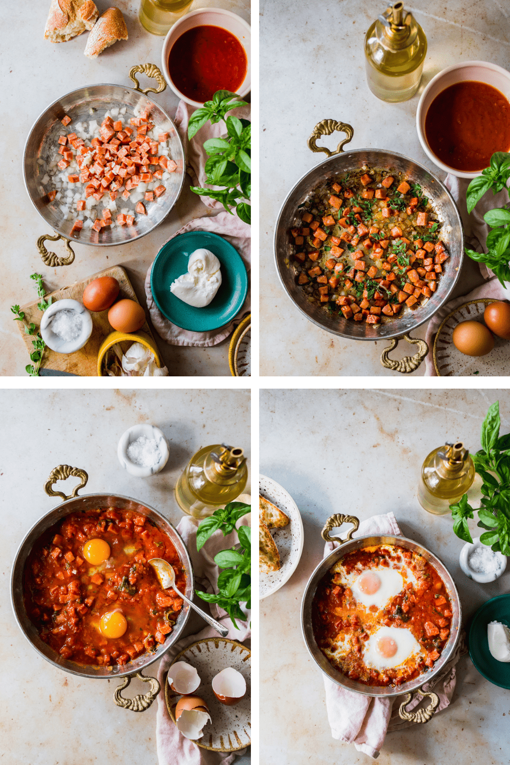 4 images cooking the poached eggs with sausage and tomato sauce.