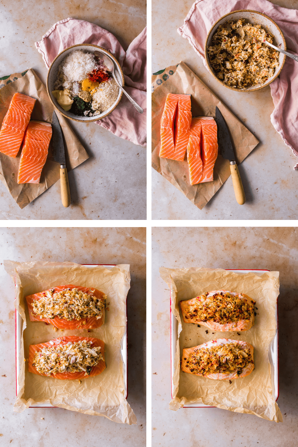 4 images showing how to stuff and bake salmon