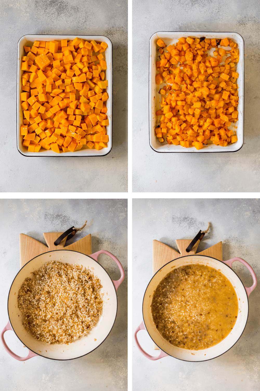 4 images showing the process of roasting butternut squash and cooking rice.