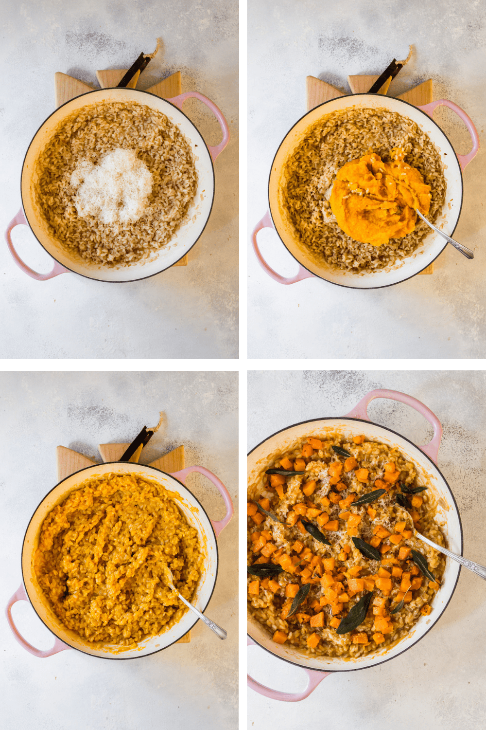 4 images showing the process of cooking the roasted butternut squash risotto