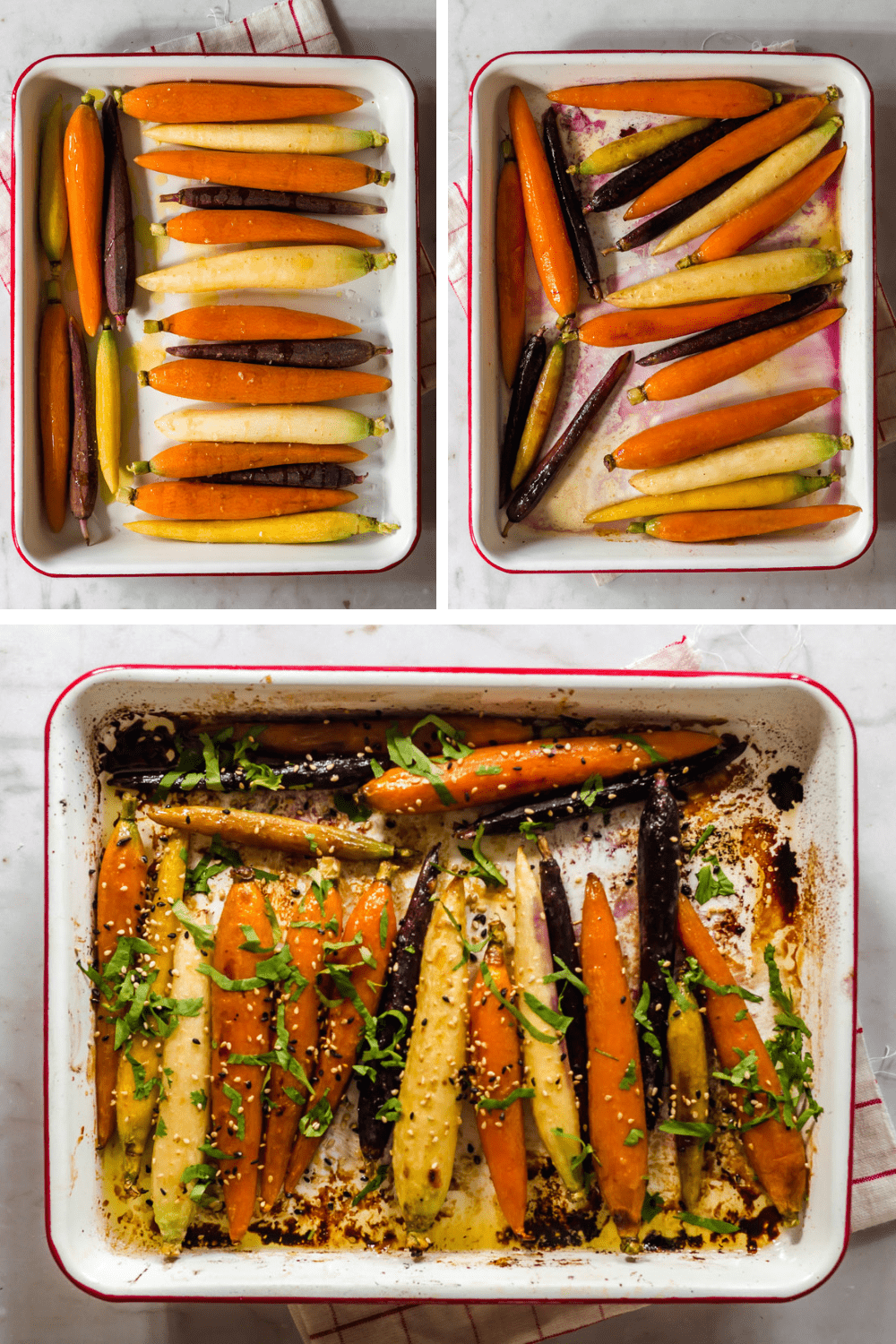 3 images of peeled carrots in a large baking dish.