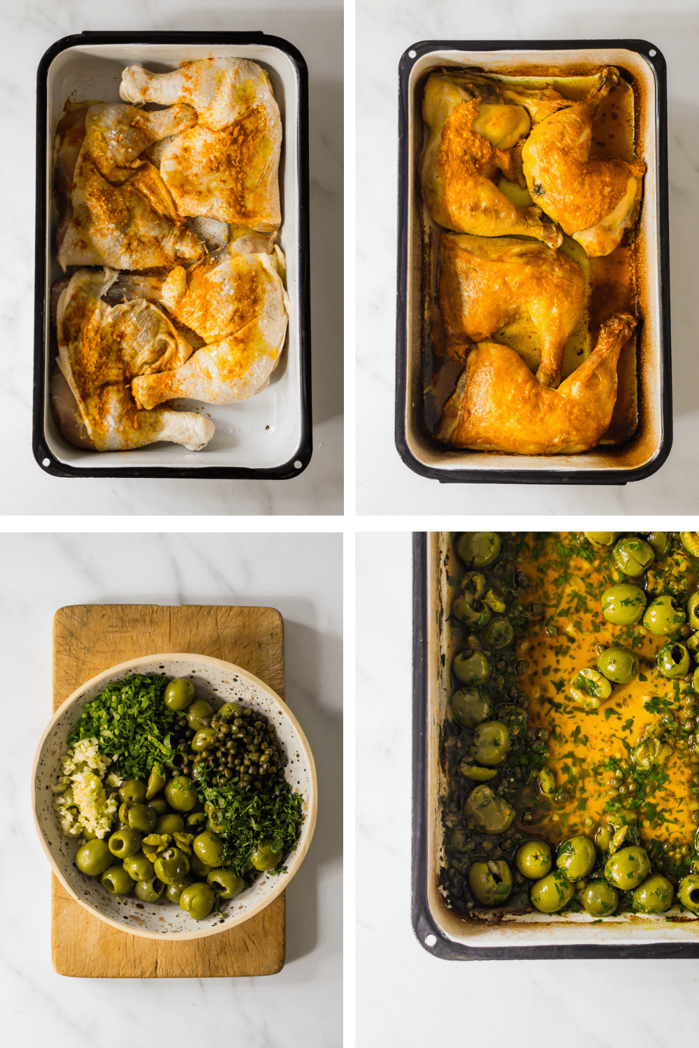 4 images of preparing baked chicken and an olive and oil dressing.
