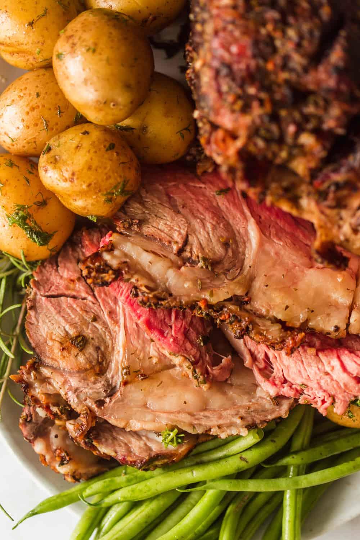 Close up of a sliced prime rib roast