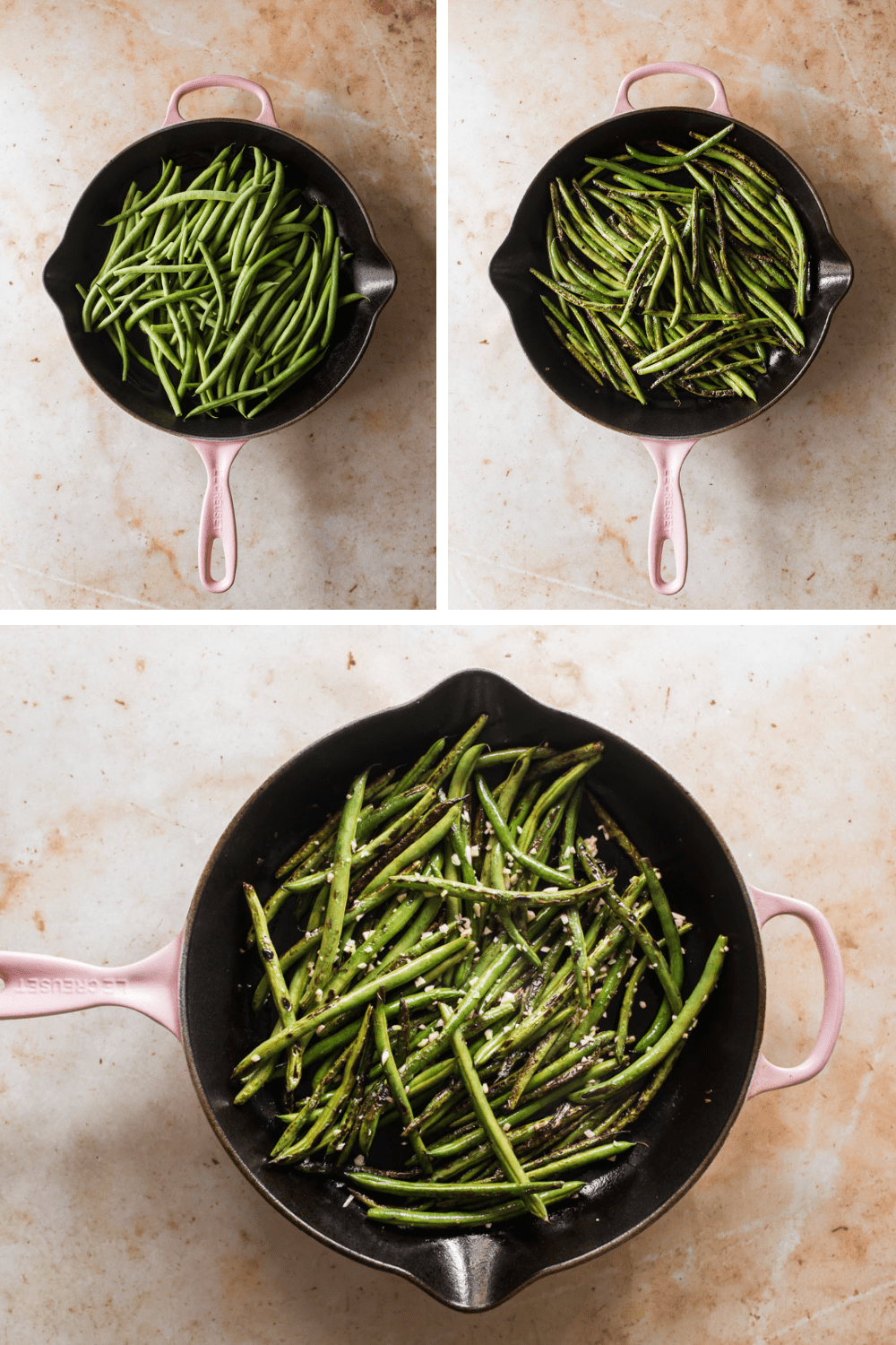 3 images of green beans cooking in a pink skillet