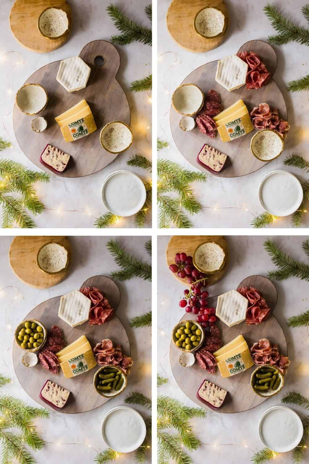 4 images showing how to layer cheese, meat, and fruit on a charcuterie board