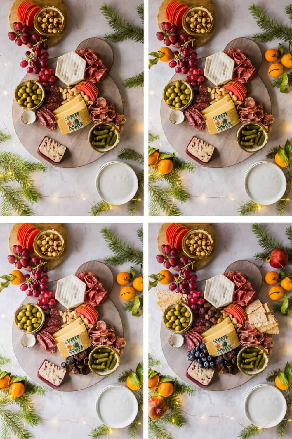 4 images showing how to assemble a holiday charcuterie board
