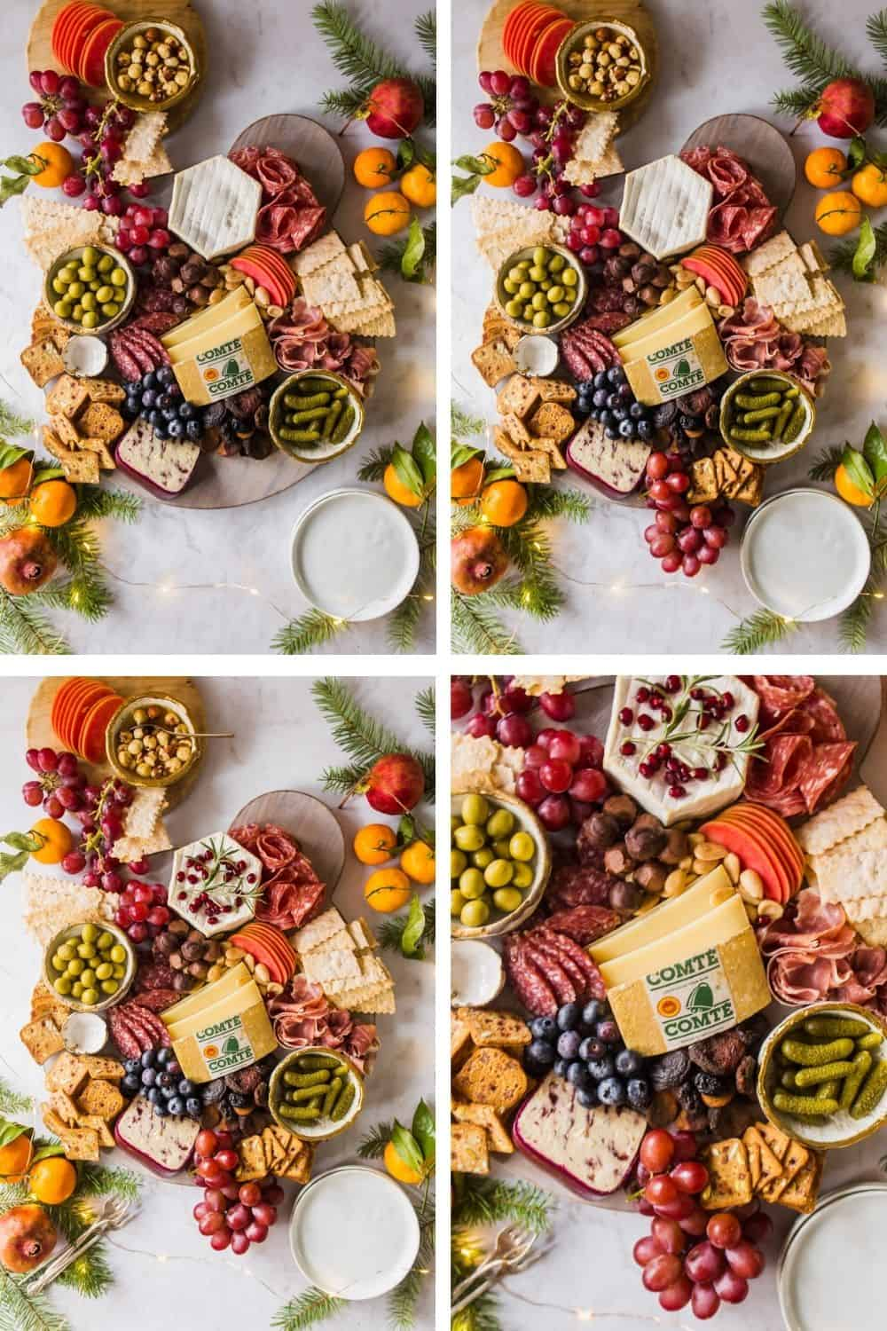 4 images of a large platter with lots of meats, cheeses, olives, pickles, and crackers.