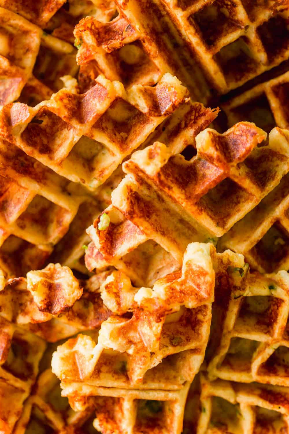 Close up of golden brown cooked waffles