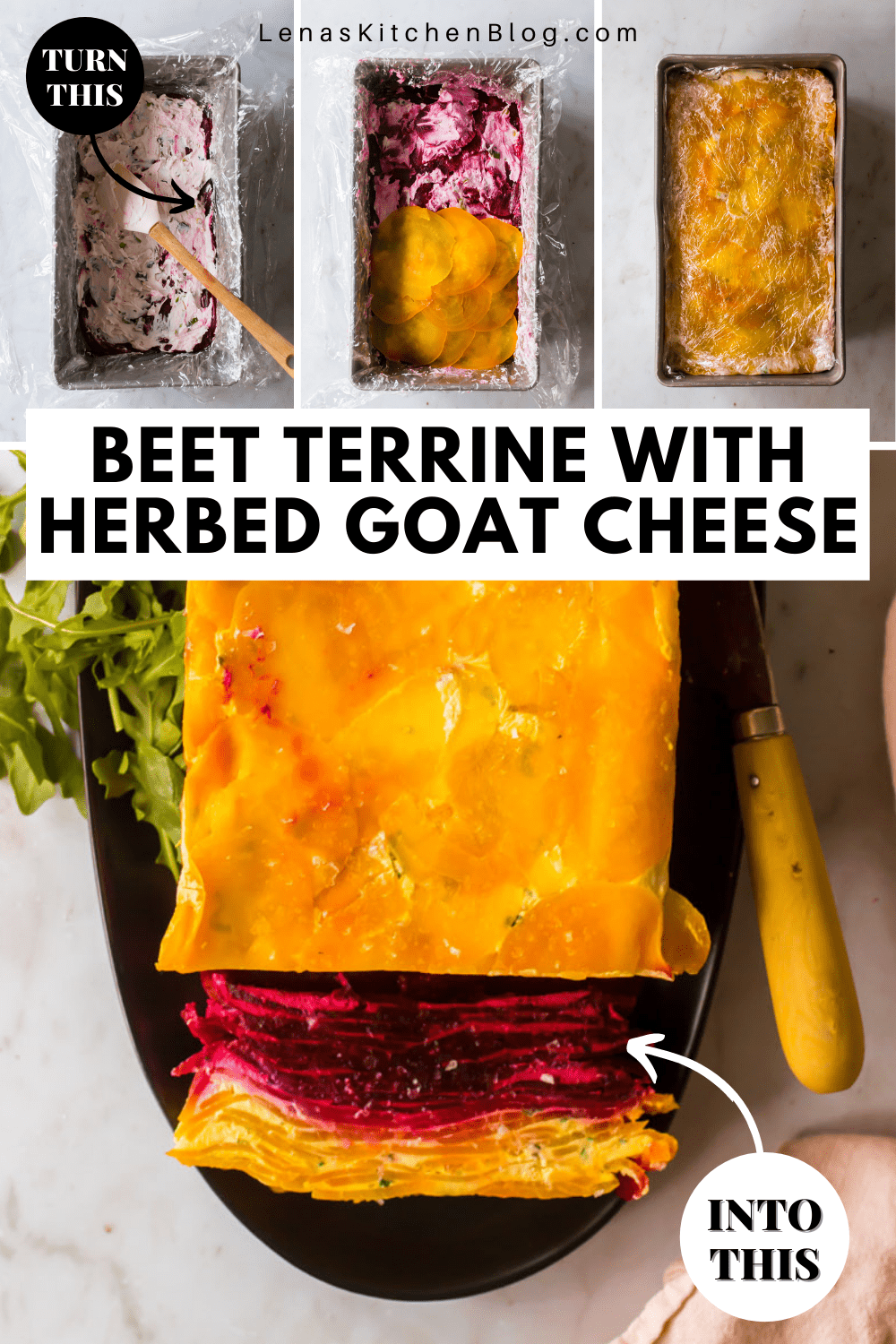 4 images showing the process of making a beet and goat cheese terrine