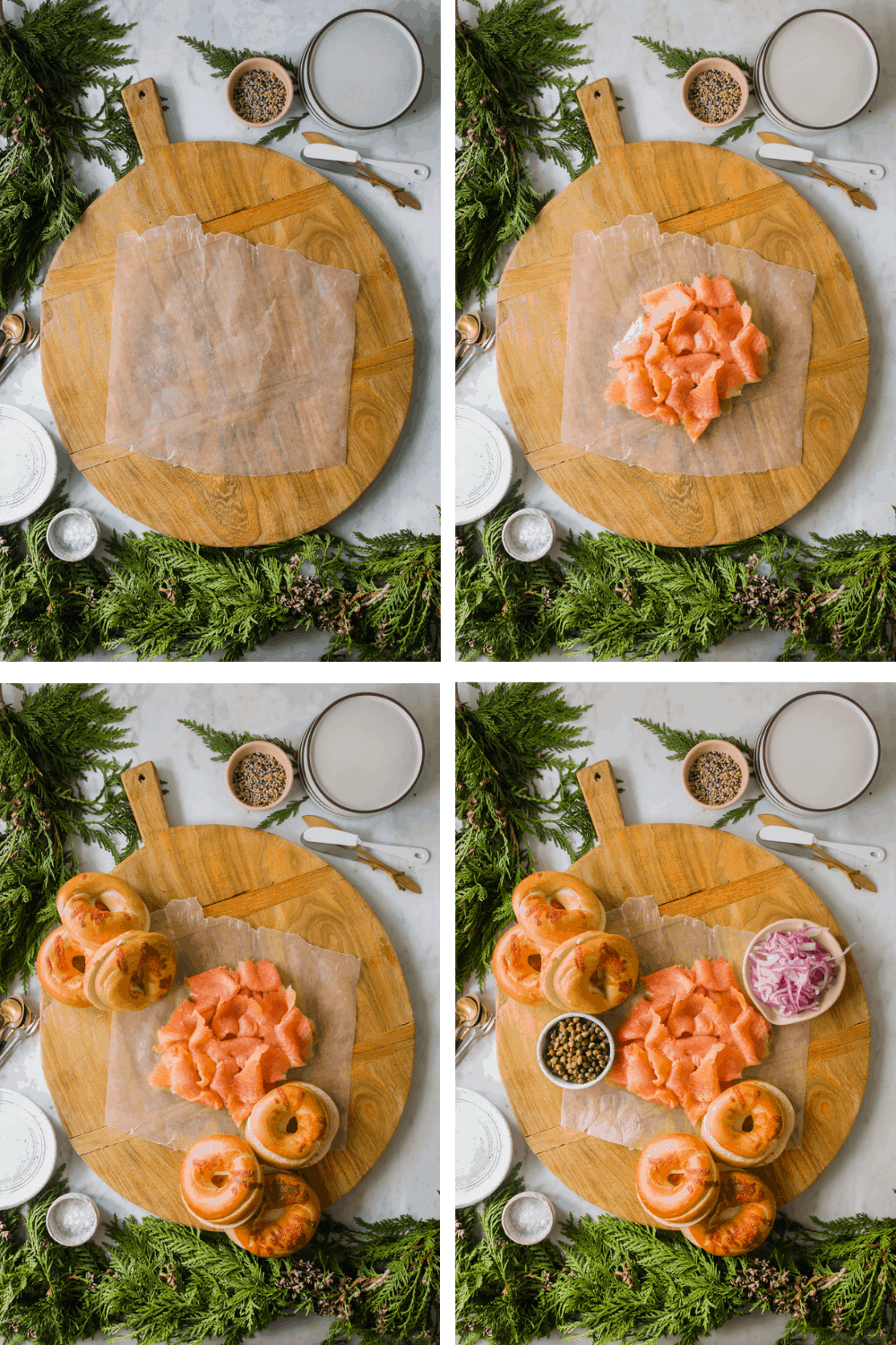 4 images of putting a lox and bagels on a wooden board