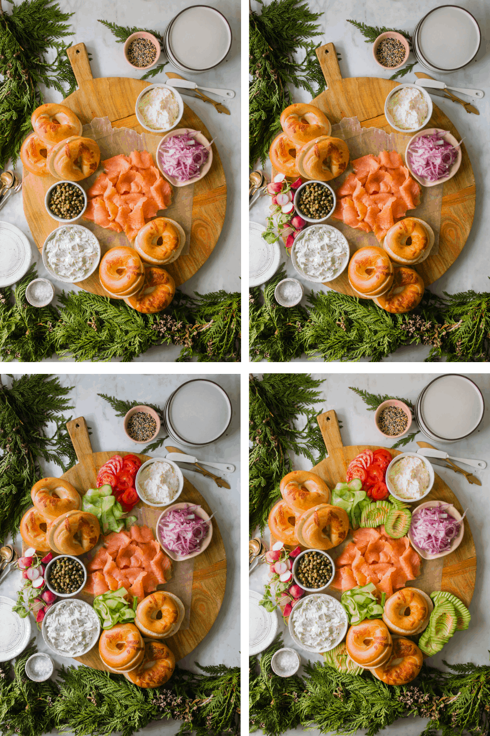 4 images of putting vegetables, dips, and toppings on a wood board