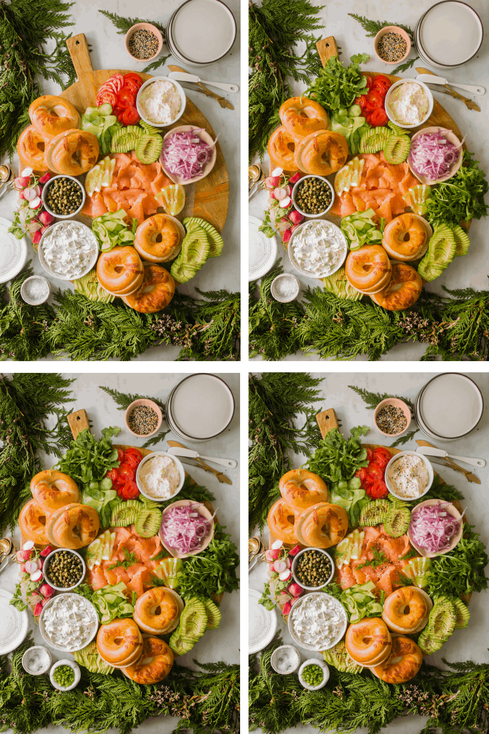 4 images of adding garnishes to a large salmon and bagel board