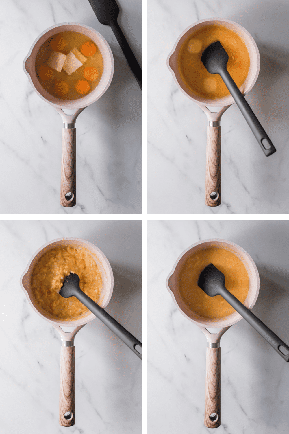 4 images showing the steps to making scrambled eggs in a white pot with a black spatula