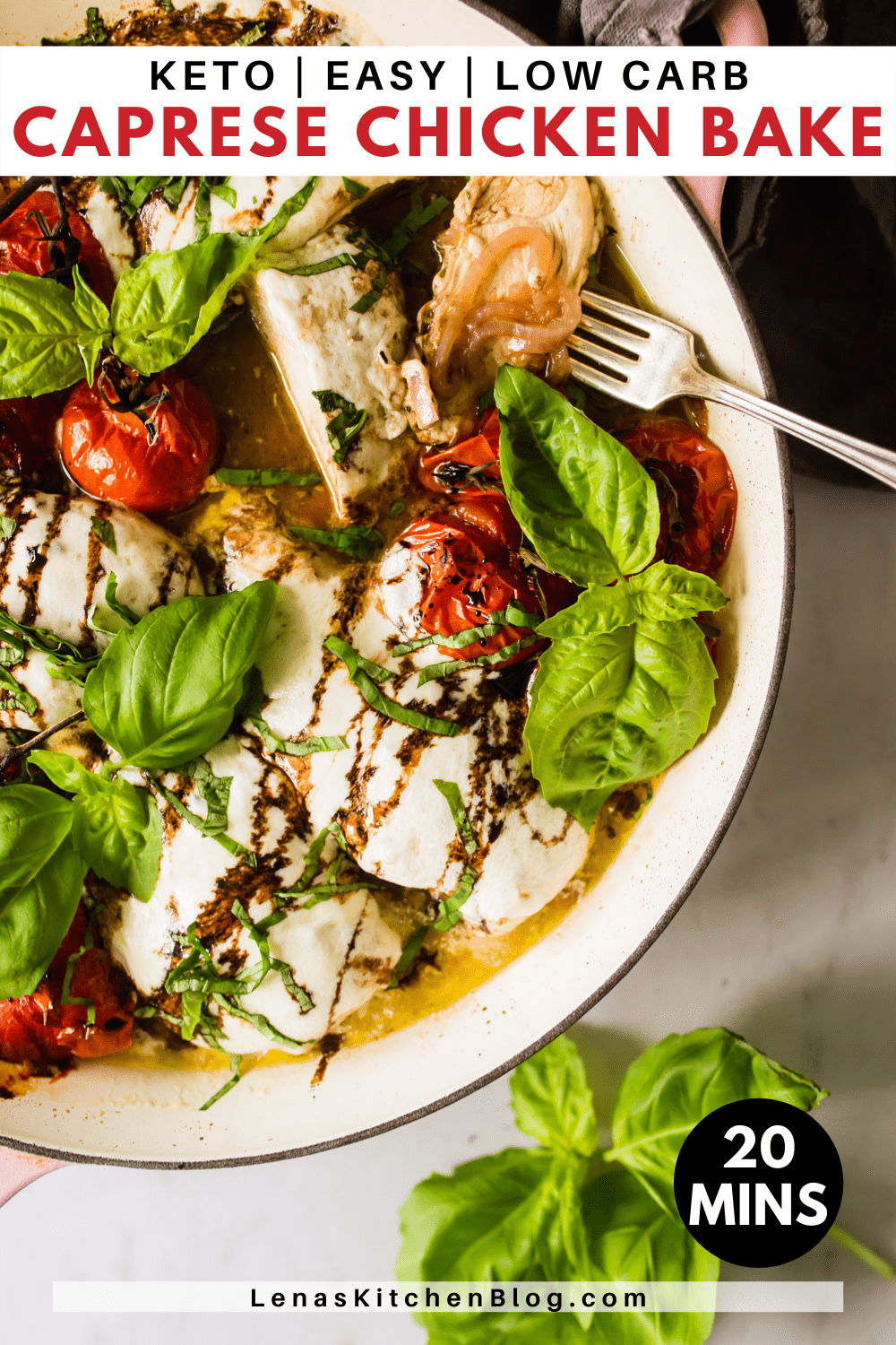 pinterest image of baked caprese chicken in a pot