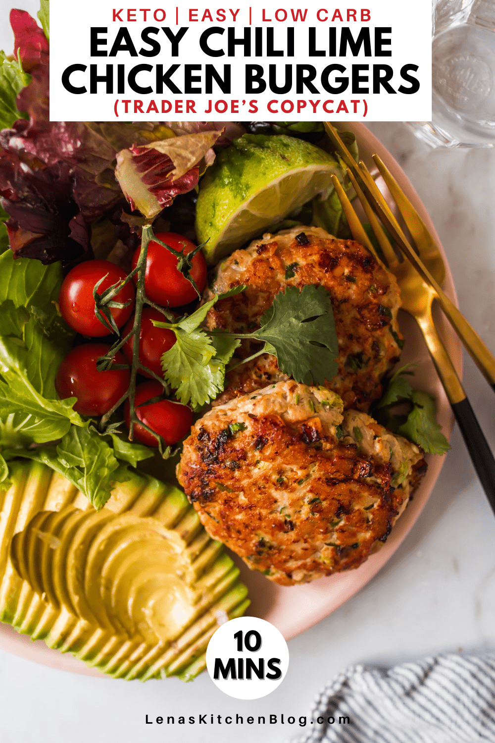 pinterest image of a pink plate filled with salad and homemade chicken burgers