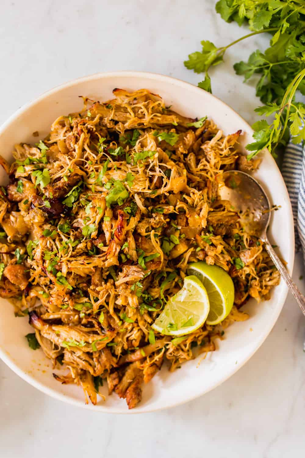 large white bowl filled with browned shredded chicken