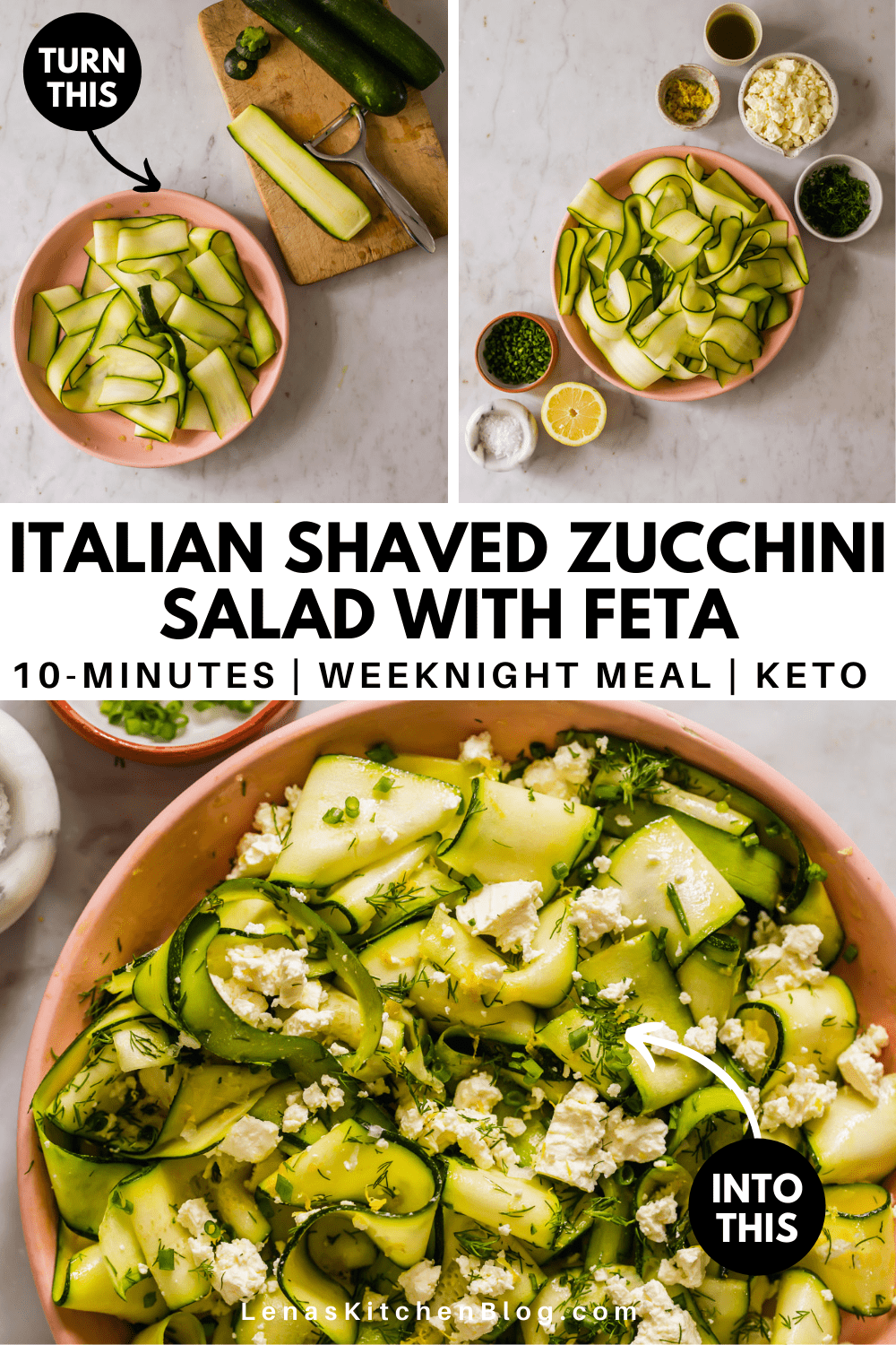 pinterest image of a pink bowl of zucchini ribbons topped with crumbled cheese and green herbs