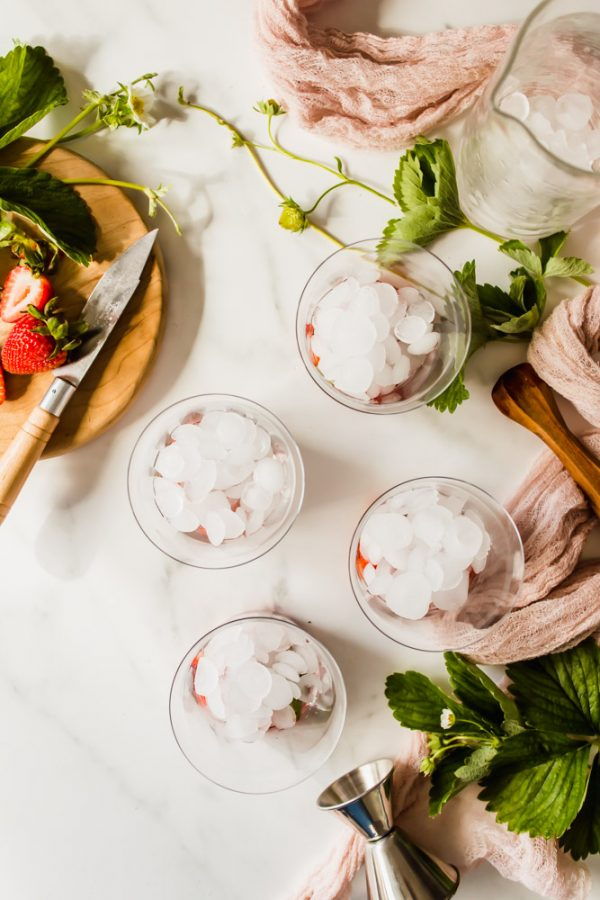 overhead view of 4 glasses with ice surrounded by green herbs