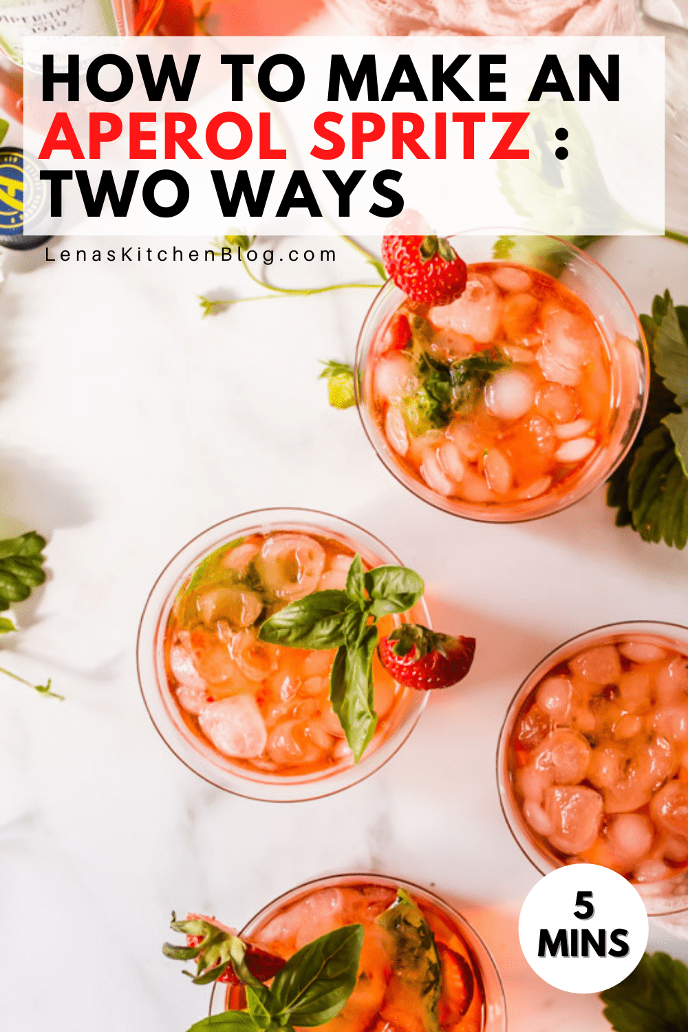 pinterest image of 4 red drinks with strawberries and basil in glasses