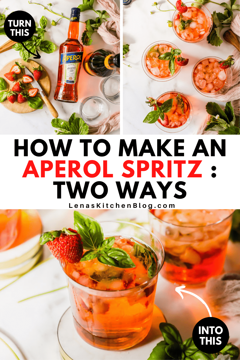 pinterest image with 3 images of red drinks with ice, strawberries, and basil