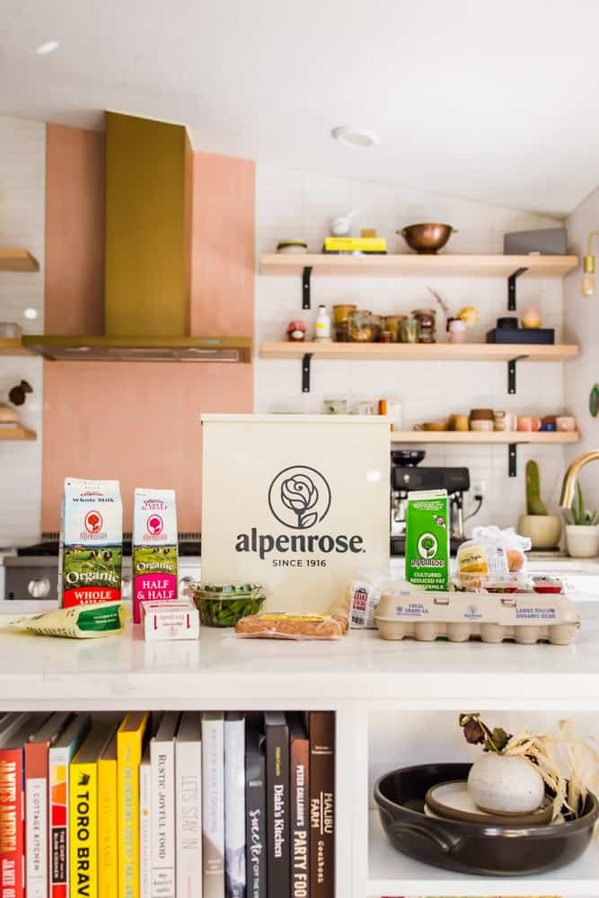 white box of alpenrose dairy next to cartons of milk and eggs