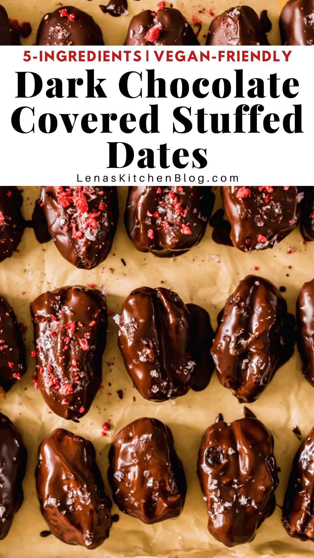 pinterest image of chocolate covered dates on parchment paper