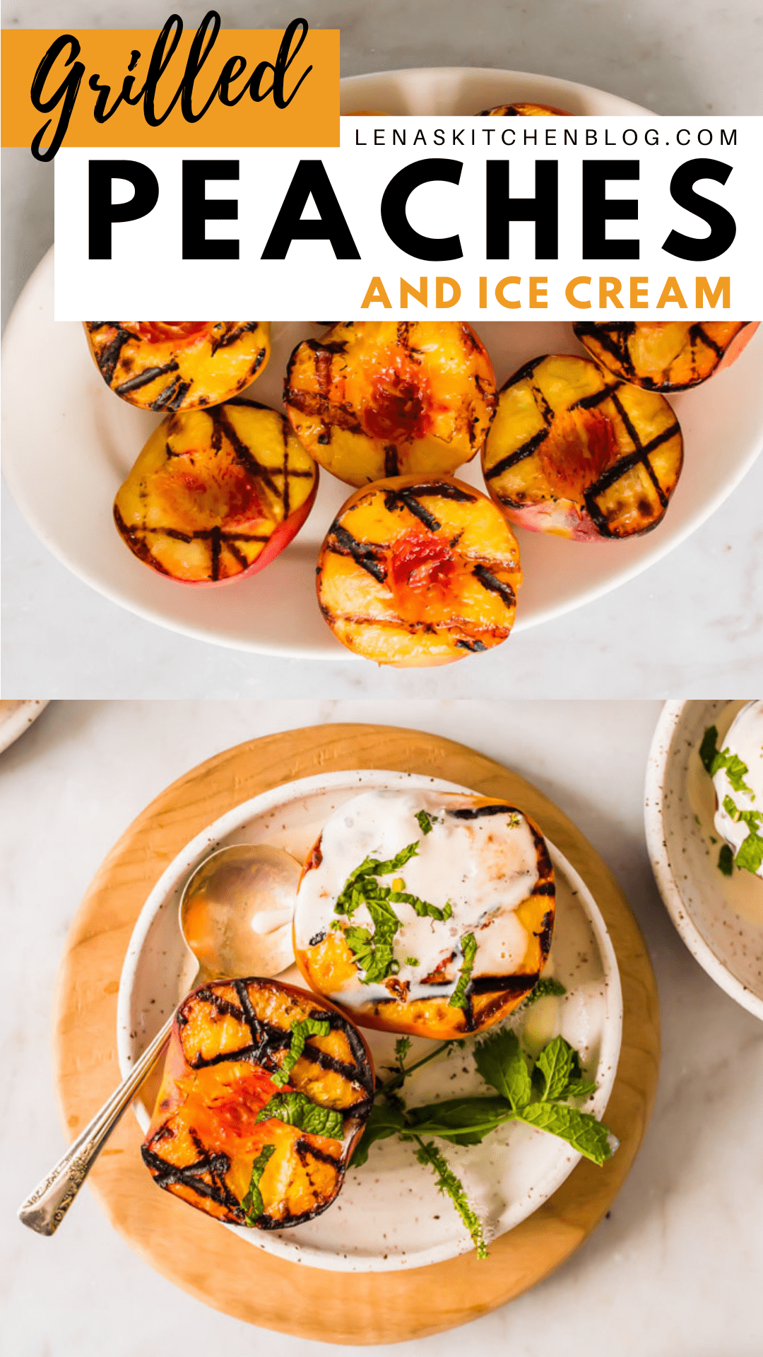 pinterest image of grilled peaches and ice cream on a white plate