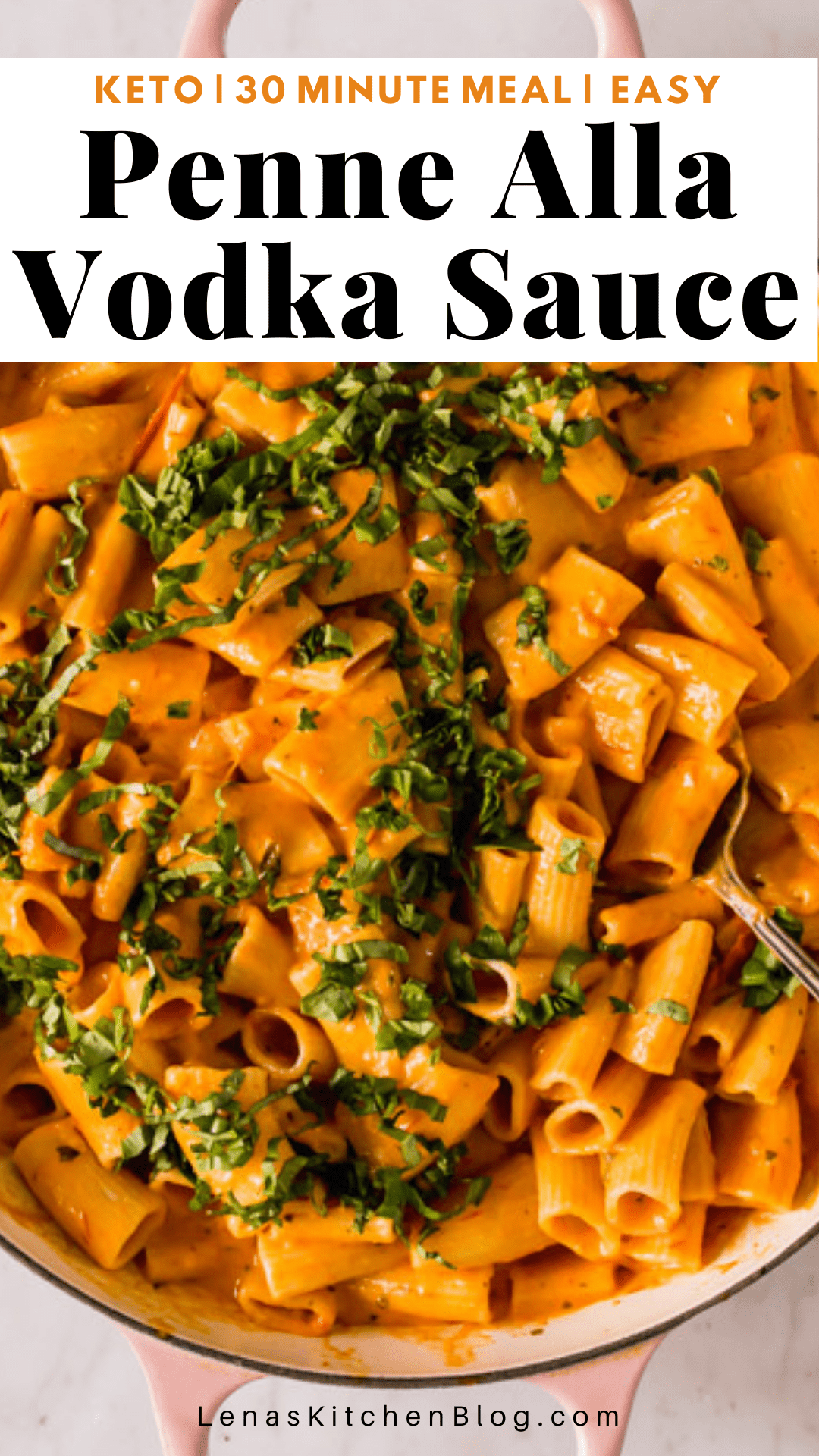 pinterest image of orange sauce-covered pasta noodles with green herbs on top.